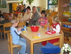 Bordet med Clara, Benedicte og Andreas. Sebastian var desværre syg :-(